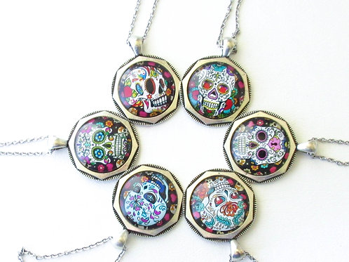 Sugar Skull Necklace with Stainless Steel Chain
