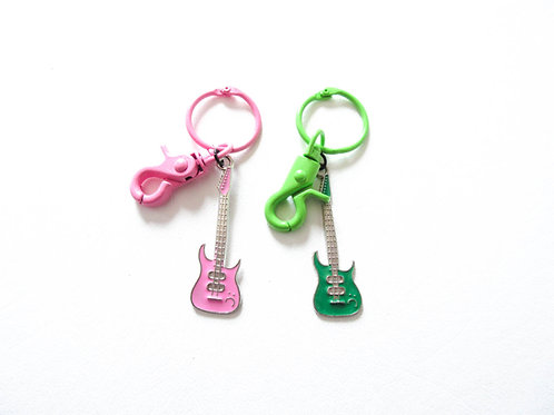 Guitar Keychain Pink or Green