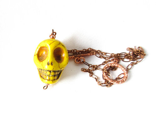 Yellow Howlite Skull Necklace