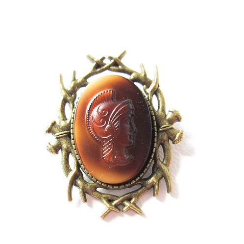 Brass Warrior Cameo Pin