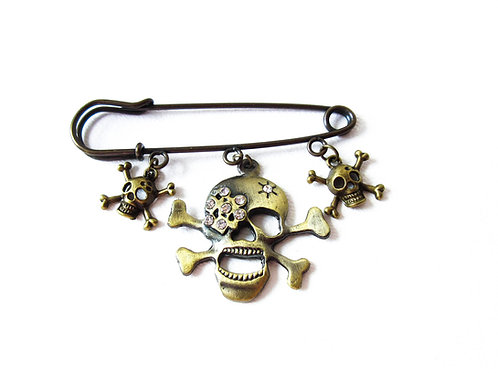 Rhinestone Skull Safety Pin