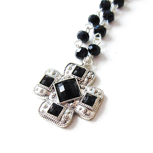 Black Rhinestone Cross Necklace