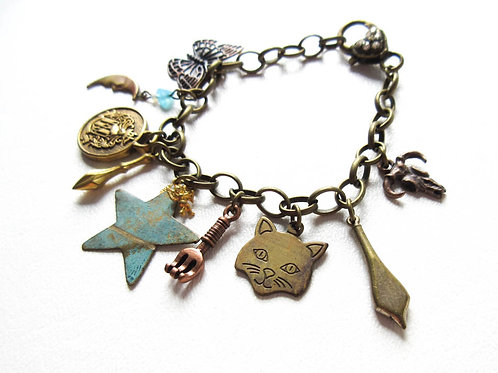 Cat and Star Charm Bracelet