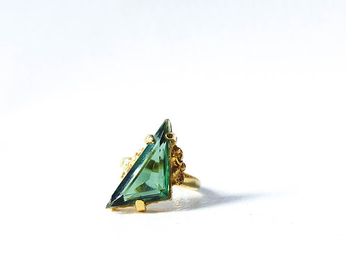 Green and Gold Triangle Ring