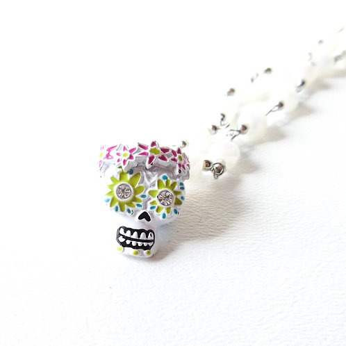 White Day of the Dead Skull Necklace