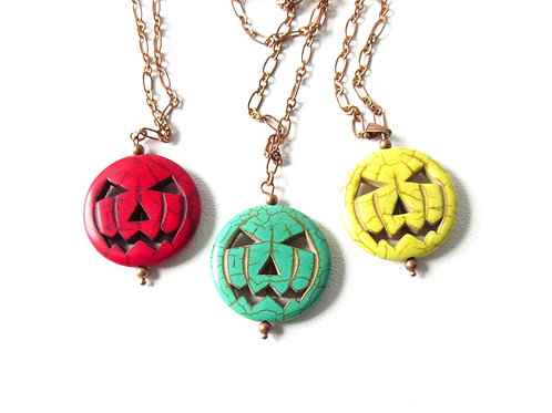 Jack O Lantern Necklace Red Green or Yellow