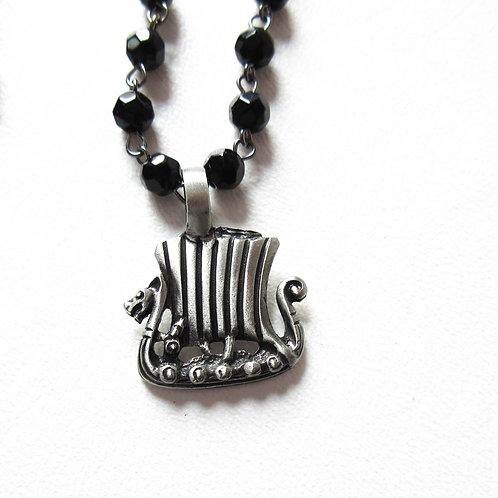 Viking Ship Rosary Necklace