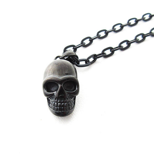 Black Stainless Steel Skull Necklace