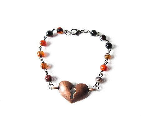 Banded Agate Heart  Bracelet