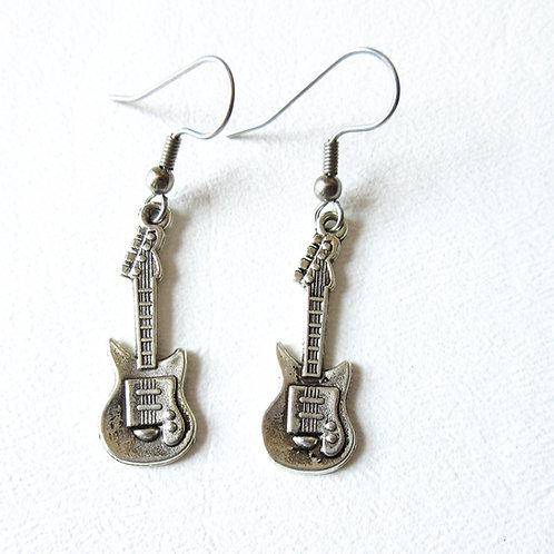 Small Silver Guitar Earrings