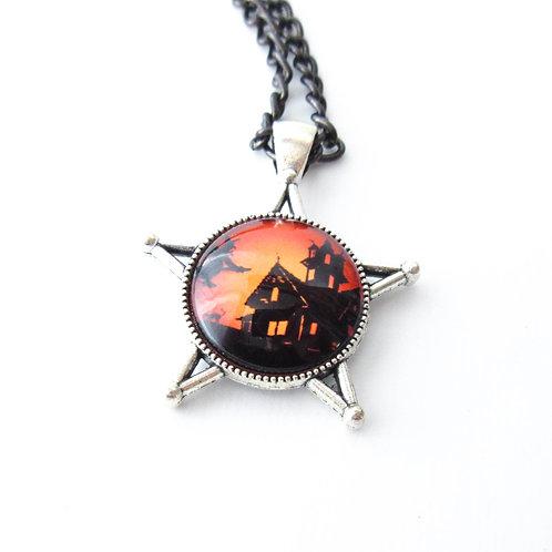 Halloween Scene Pentagram Necklace
