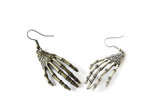 Skeleton Hand Earrings Antique Brass or Silver Tone