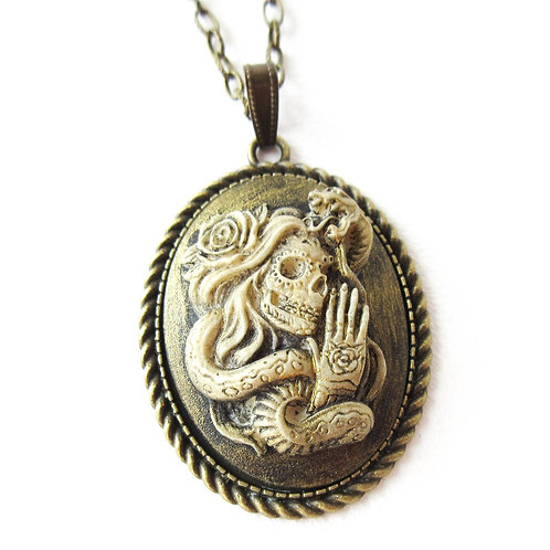 Snake Charmer Cameo Necklace