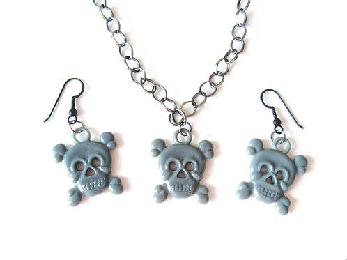 Gray Skull Necklace and Earring Set