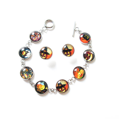 Stainless Steel Jack O Lantern Bracelet and Earring Set