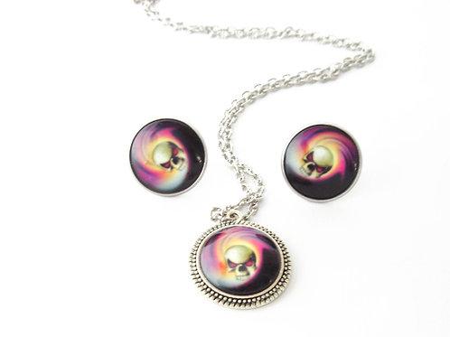Skull Swirl Necklace and Earrings Set