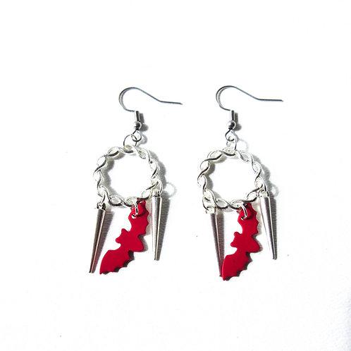 Red Bat Earrings
