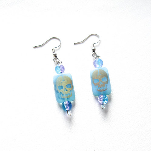 Blue Iridescent Skull Earrings