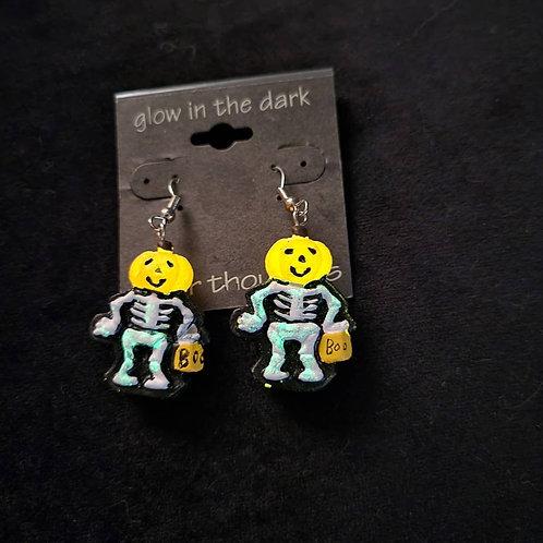Vintage Glow in the Dark Pumpkin Skeleton Earrings