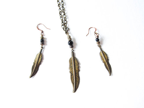 Upcycled Metal Feather Necklace and Earrings Set