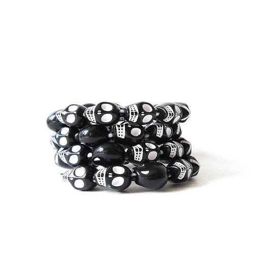 Black Skull Memory Wire Bracelet