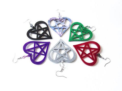 Pentagram Heart Earrings