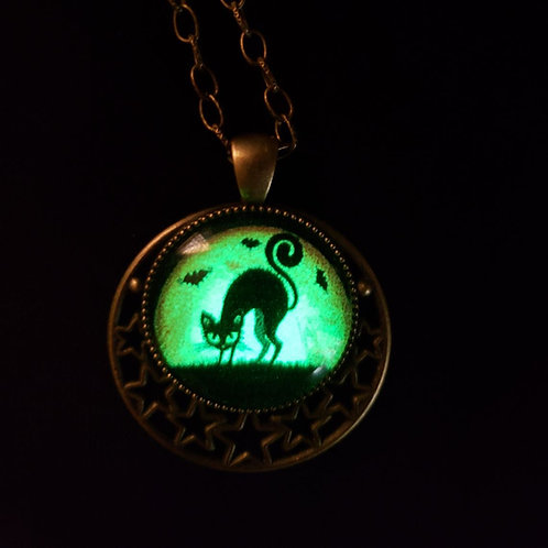 Glow in the Dark Black Cat with Arched Back Necklace