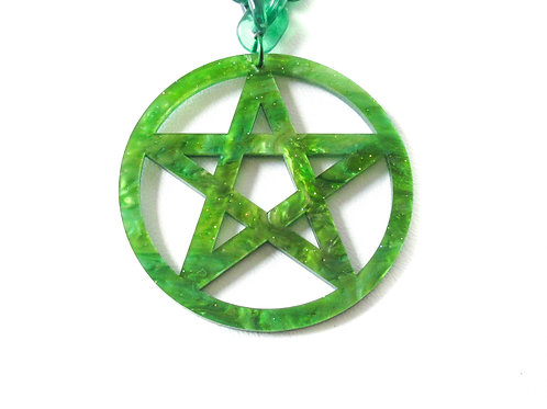 Green Acrylic Pentagram Necklace