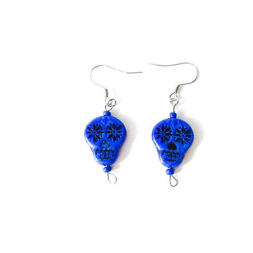 Blue and Black Sugar Skull Earrings