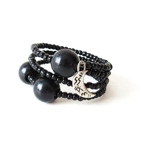 Black Wrap Bracelet with Heart and Moon Charms