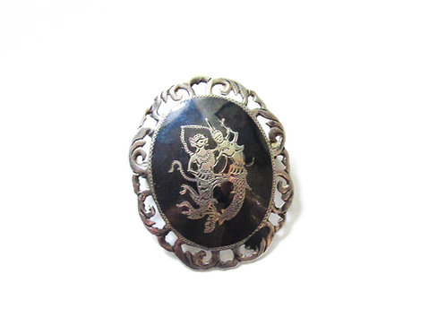 Vintage Siam Silver Oval Pin