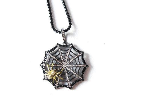Big Rhinestone Spiderweb Necklace