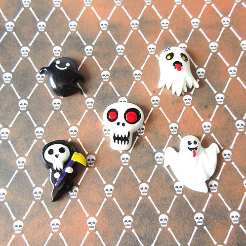 Halloween Pin Ghost Skull Grim Reaper