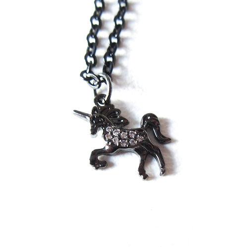 Tiny Rhinestone Unicorn Necklace