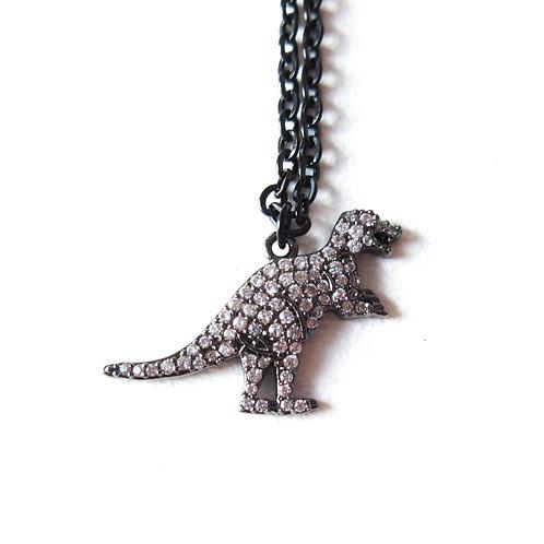 Micro Pave Rhinestone Dinosaur Necklace