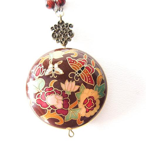 Brown Cloisonné  Medallion Necklace