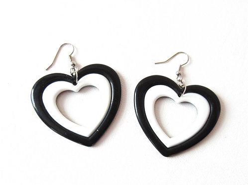 Black and White Heart Earrings