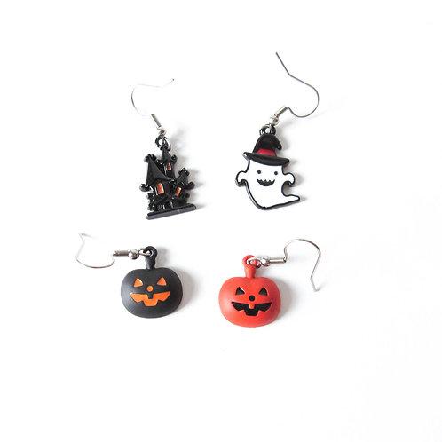 Enamel Halloween Earrings Haunted House Ghost Jack O Lantern