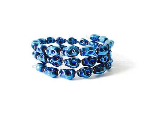 Electric Blue Skull Bracelet