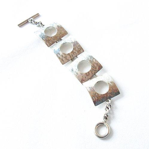 Mexican Silver Square Link Bracelet