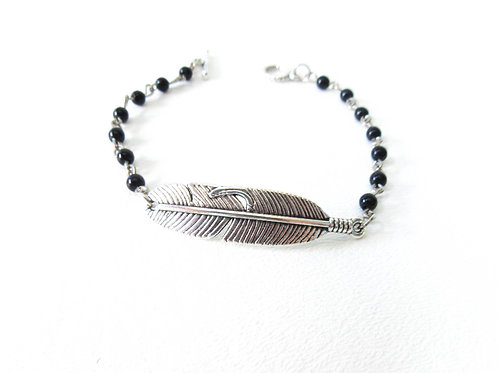Black and SIlver Feather Bracelet