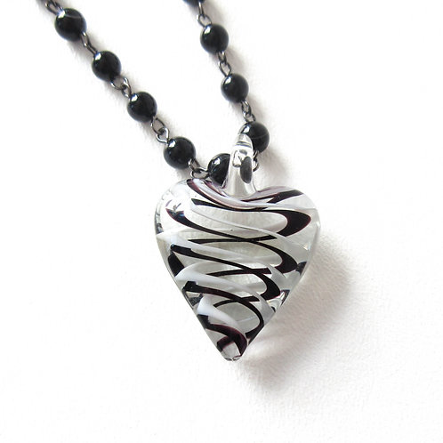 Striped Heart Necklace