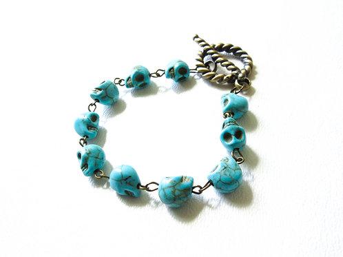 Turquoise Howlite Skull Bracelet