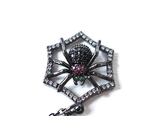 Rhinestone Spiderweb Necklace