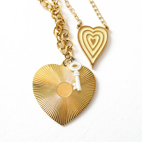 Vintage Gold Tone Double Heart Necklace