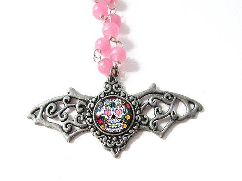 Pink Beaded Sugar Skull Necklace