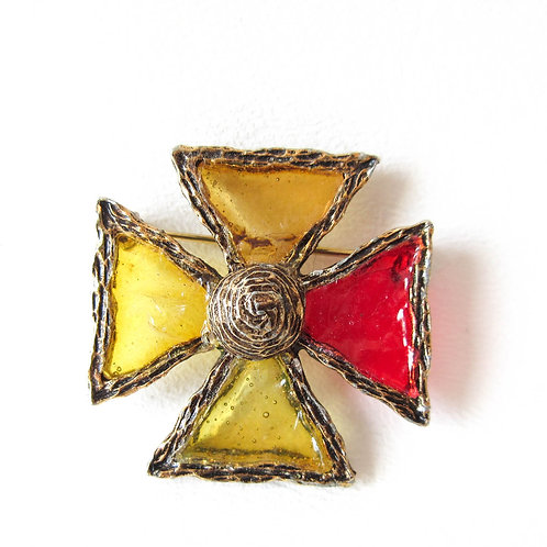 Maltese Cross Faux Stained Glass Brooch