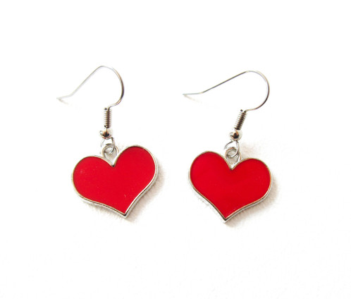 Add Just A Touch Of Love With These Small Red Heart Earrings The Charms Are One Sided Shiny Silver Tone Back They 3 4 Wide