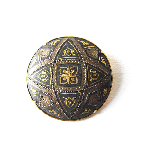 Spanish Damascene Round Medallion Pin