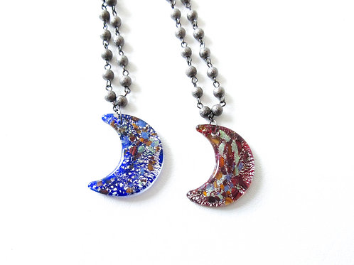 Glass Moon Necklace Red or Blue